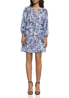 BCBGMAXAZRIA Kendra Printed Silk Peplum Dress
