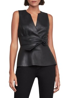 BCBG Max Azria BCBGMAXAZRIA Knotted Faux Leather Top