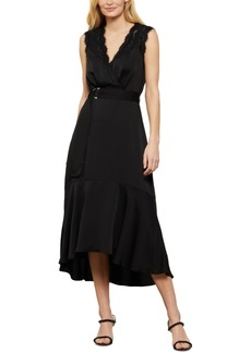 BCBG Max Azria Bcbgmaxazria Lace & Satin Belted Midi Dress
