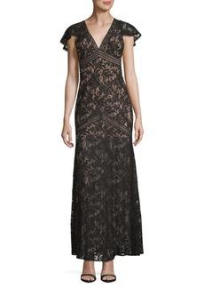 BCBGMAXAZRIA Lace Cap-Sleeve Sheath Gown