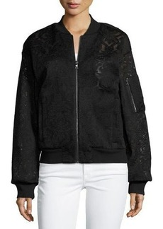 BCBGMAXAZRIA Lace-Embroidered Bomber Jacket
