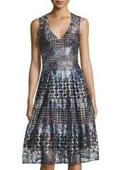 BCBG Max Azria BCBGMAXAZRIA Lace Mesh-Panel Evening Dress
