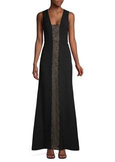 BCBG Max Azria BCBGMAXAZRIA Lace Panel Sleeveless Gown
