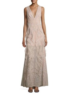 BCBGMAXAZRIA Lace Ruffle Gown