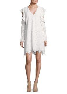BCBG Max Azria BCBGMAXAZRIA Lace Ruffle Sleeve Shift Dress