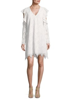 BCBG Max Azria Lace Ruffle Sleeve Shift Dress