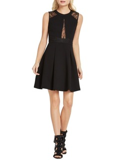 BCBGMAXAZRIA Lace Trimmed Fit-and-Flare Dress