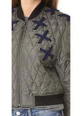 BCBG Max Azria BCBGMAXAZRIA Lace Up Bomber Jacket