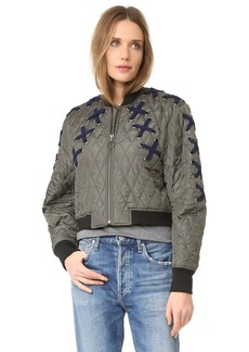 BCBGMAXAZRIA Lace Up Bomber Jacket