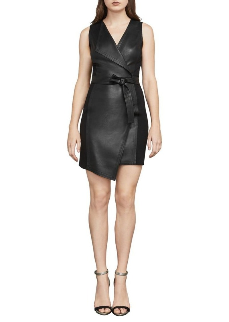 BCBG Max Azria BCBGMAXAZRIA Layla Asymmetrical Pleather Dress