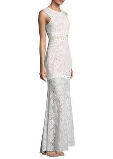 BCBG Max Azria BCBGMAXAZRIA Leaf Dot Lace Floor-Length Gown