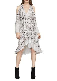 BCBGMAXAZRIA Leeam Cold-Shoulder Wrap Dress