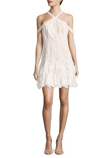 BCBGMAXAZRIA Leighann Cold Shoulder Lace Topped Dress