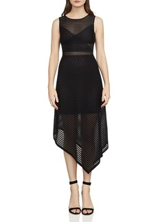 BCBG Max Azria BCBGMAXAZRIA Leona Asymmetric Striped Mesh Dress