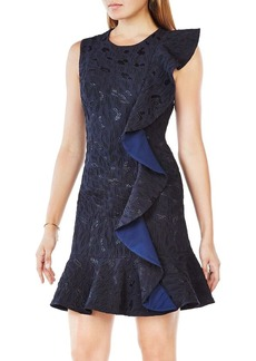 BCBGMAXAZRIA Leopard Jacquard Ruffled Dress