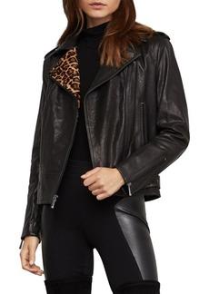 BCBG Max Azria BCBGMAXAZRIA Leopard-Print Calf Hair & Leather Moto Jacket