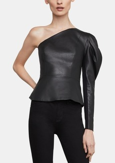 BCBG Max Azria Bcbgmaxazria Lillyan One-Shoulder Faux-Leather Top