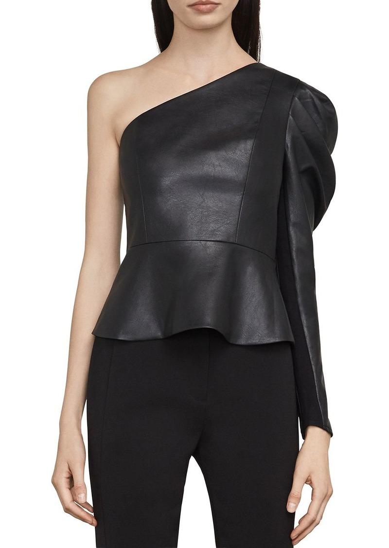 864b1521138e4b BCBG Max Azria BCBGMAXAZRIA Lilyan One-Shoulder Faux Leather Top ...
