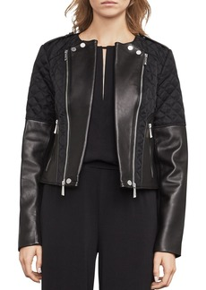 BCBGMAXAZRIA Logan Mixed Media Moto Jacket