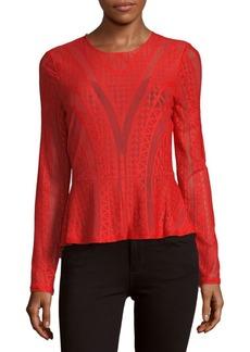 BCBG Max Azria BCBGMAXAZRIA Long-Sleeve Knit Peplum Top