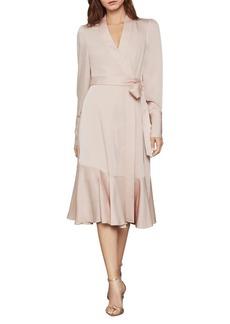 BCBG Max Azria BCBGMAXAZRIA Long-Sleeve Satin Crepe Wrap Dress
