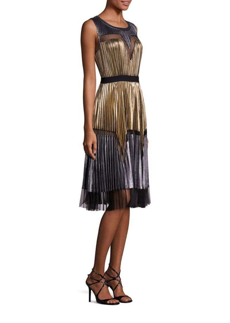 Bcbg Max Azria Bcbgmaxazria Lucea Pleated Metallic Dress