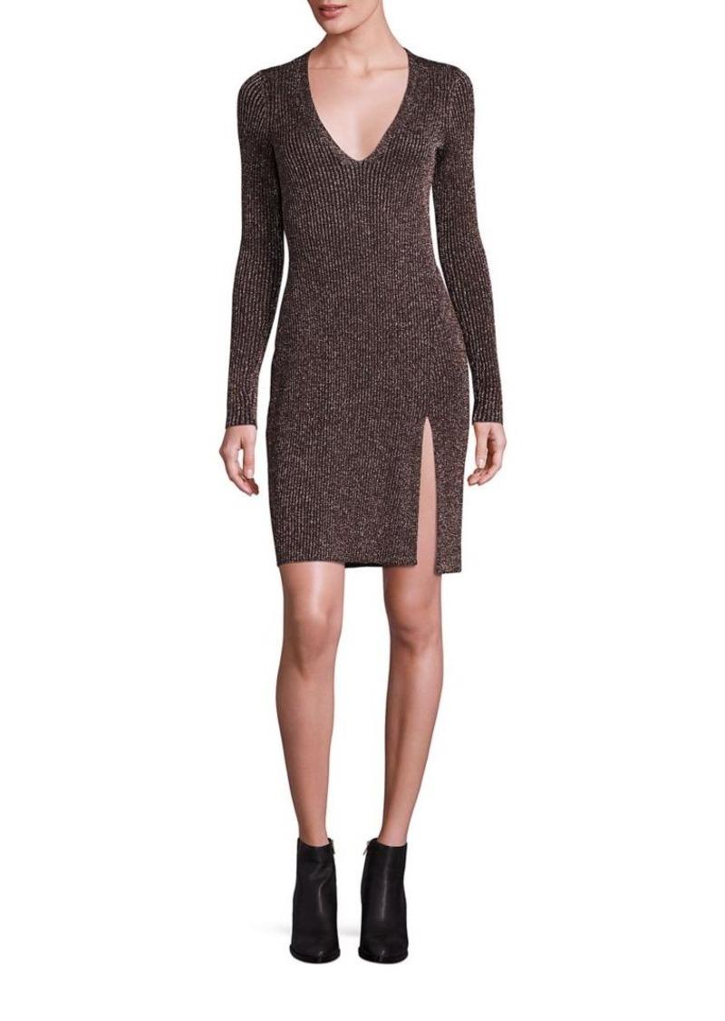 BCBG Max Azria BCBGMAXAZRIA Macki Metallic V-Neck Tunic Sweater ...