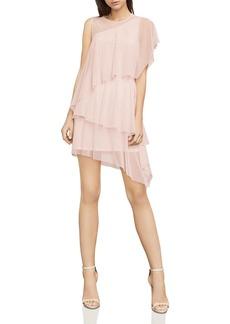 BCBGMAXAZRIA Madison Tiered Asymmetric Mesh Dress