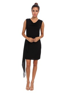BCBGMAXAZRIA Malory Cowl Neck Side Cascade Dress