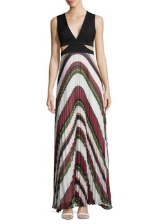 BCBG Max Azria BCBGMAXAZRIA Maryna Deco Stripe Pleated Maxi Dress