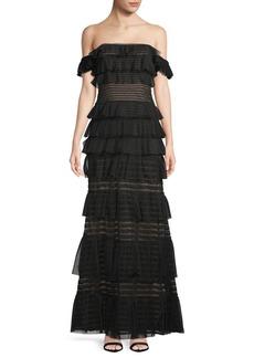 Mesh Stripe Evening Gown