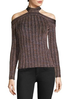 BCBG Max Azria Metallic Cold Shoulder Top