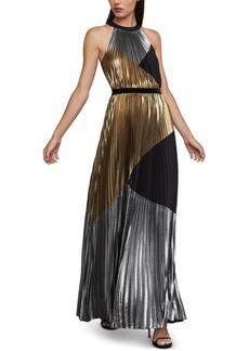 BCBG Max Azria Bcbgmaxazria Metallic Colorblocked Gown