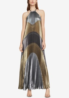 BCBG Max Azria Bcbgmaxazria Metallic Colorblocked Pleated Gown