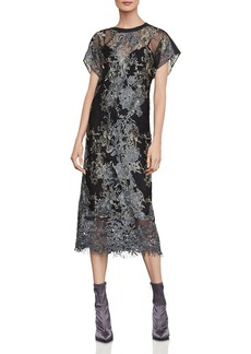 BCBG Max Azria BCBGMAXAZRIA Metallic Embroidered Midi Dress