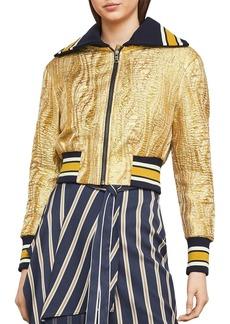 BCBG Max Azria BCBGMAXAZRIA Metallic Jacquard Varsity Jacket