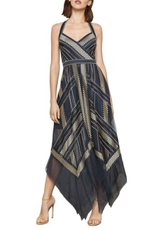 BCBG Max Azria BCBGMAXAZRIA Metallic Striped Handkerchief Dress
