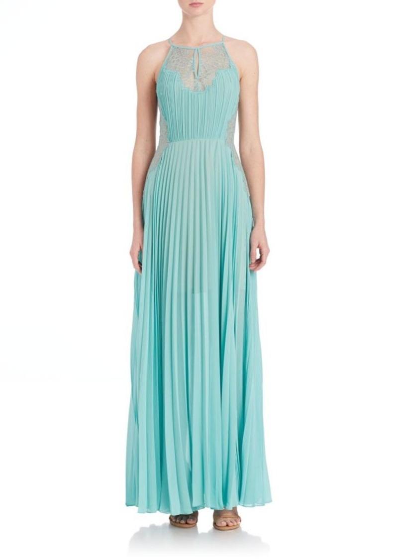 BCBG Max Azria BCBGMAXAZRIA Misty Lace-Blocked Pleated Gown