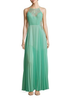 BCBGMAXAZRIA Misty Lace-Blocked Pleated Gown