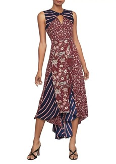 BCBG Max Azria BCBGMAXAZRIA Mixed-Print Asymmetric Dress
