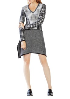 BCBGMAXAZRIA Monaco Mixed Pattern Sweater Dress