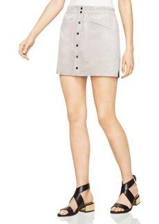 BCBGMAXAZRIA Mora Faux-Suede A-Line Mini Skirt