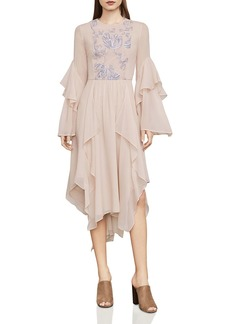 BCBGMAXAZRIA Nel Embroidered Ruffled Dress