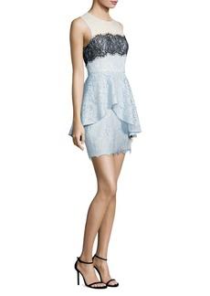 BCBG Max Azria Noah Asymmetrical Lace Peplum Dress