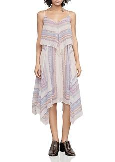 Bcbgmaxazria Novah Handkerchief Hem Silk Chiffon Dress