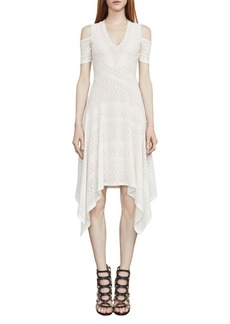 BCBGMAXAZRIA Odette Asymmetrical Cold-Shoulder Dress