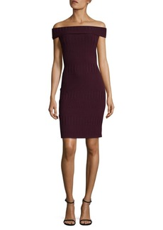 BCBG Max Azria Off-Shoulder Rib-Knit Dress
