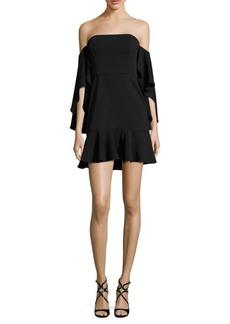 BCBGMAXAZRIA Off-The-Shoulder Crepe Dress