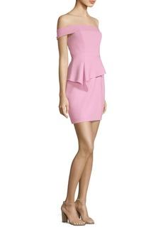 BCBG Max Azria Off-The-Shoulder Peplum Sheath Dress