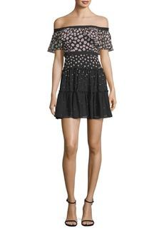 BCBG Max Azria Off-The-Shoulder Ruffle Mini Dress